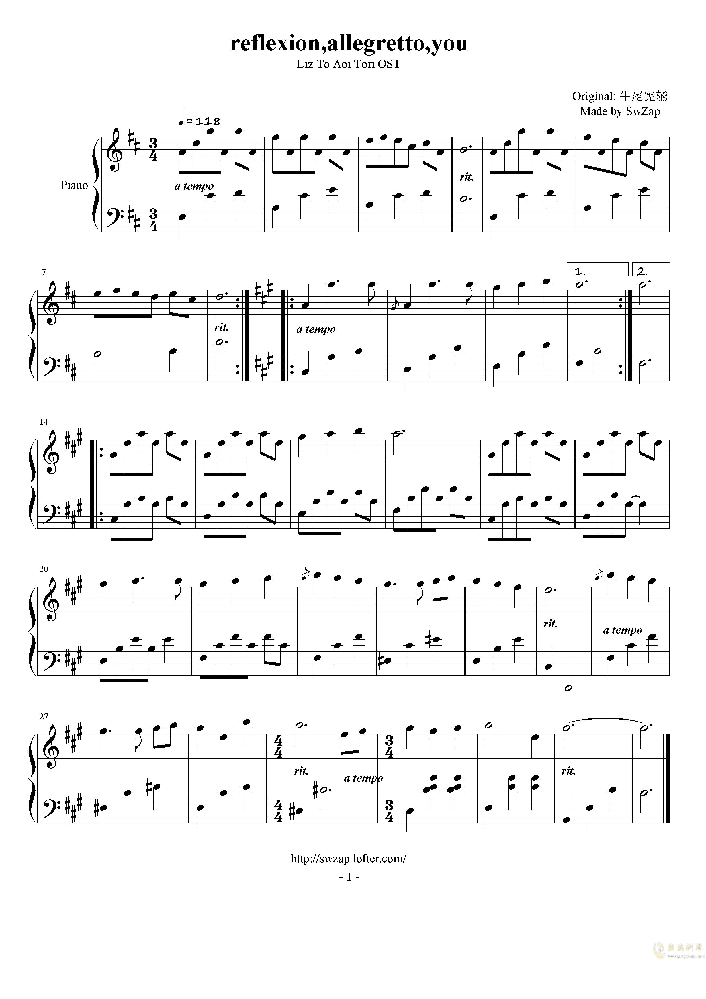 reflexion,allegretto,you钢琴谱 第1页