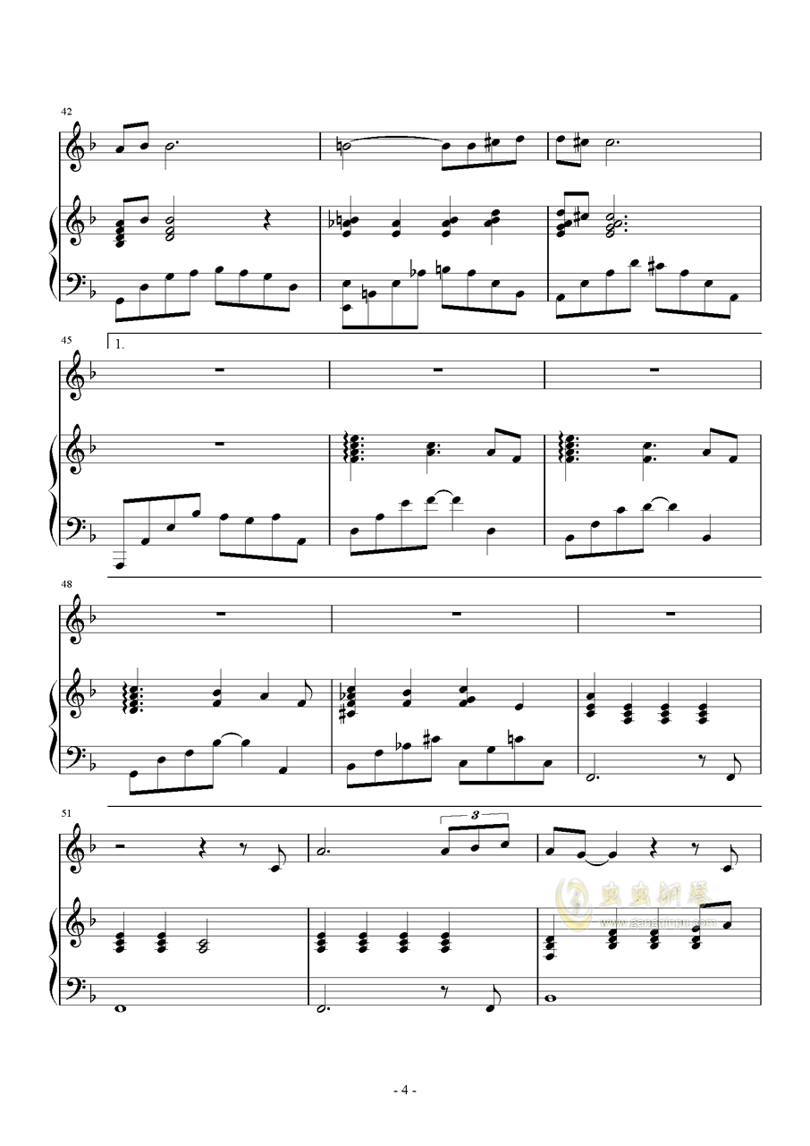 放手钢琴谱 第4页