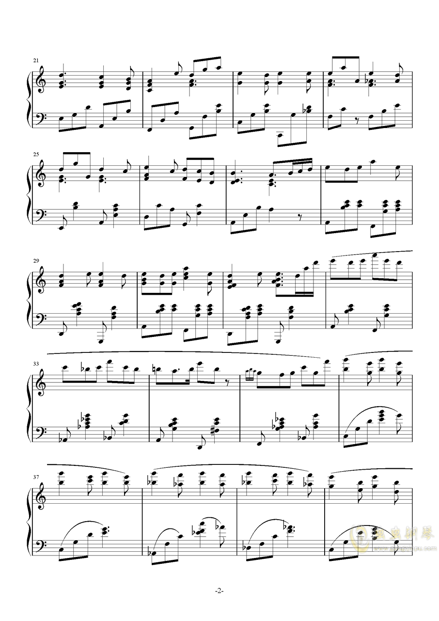 八月迷情钢琴谱 第2页