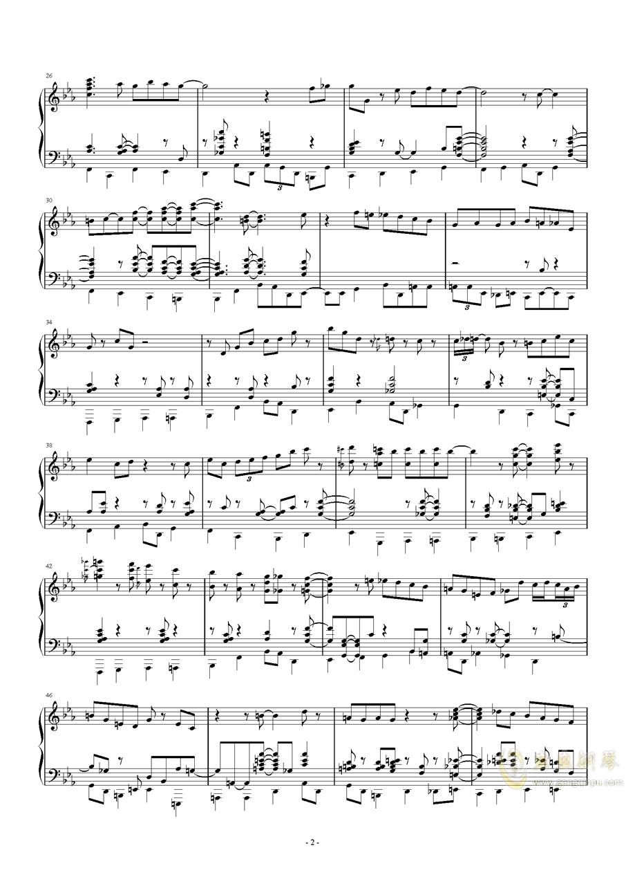 tangerine钢琴谱 第2页