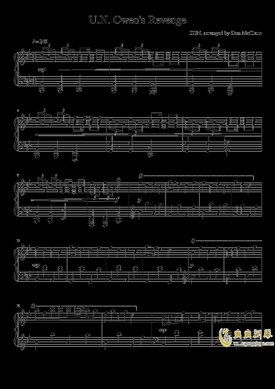U.N. Owen的复仇钢琴谱 第1页