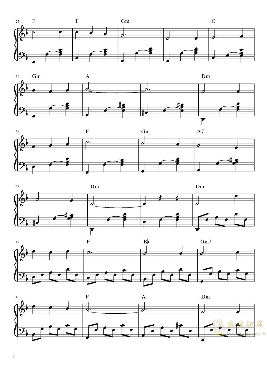 山楂树钢琴谱 第2页
