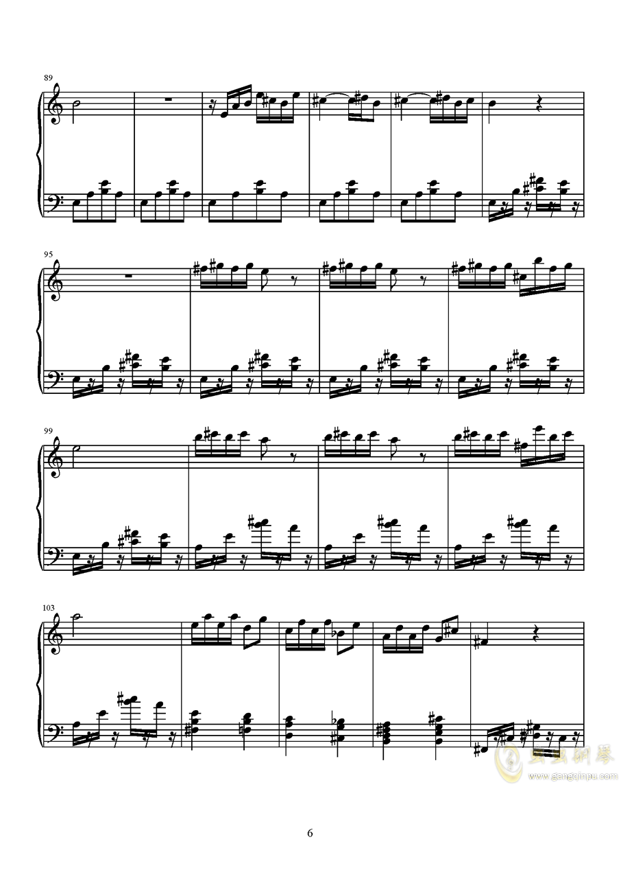 山水主题第三幻想曲钢琴谱 第6页