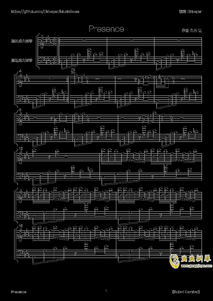 Presence钢琴谱 第1页