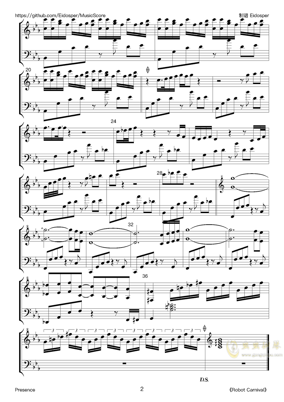 Presence钢琴谱 第2页