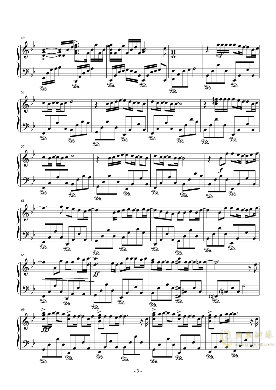 セピア色钢琴谱 第3页