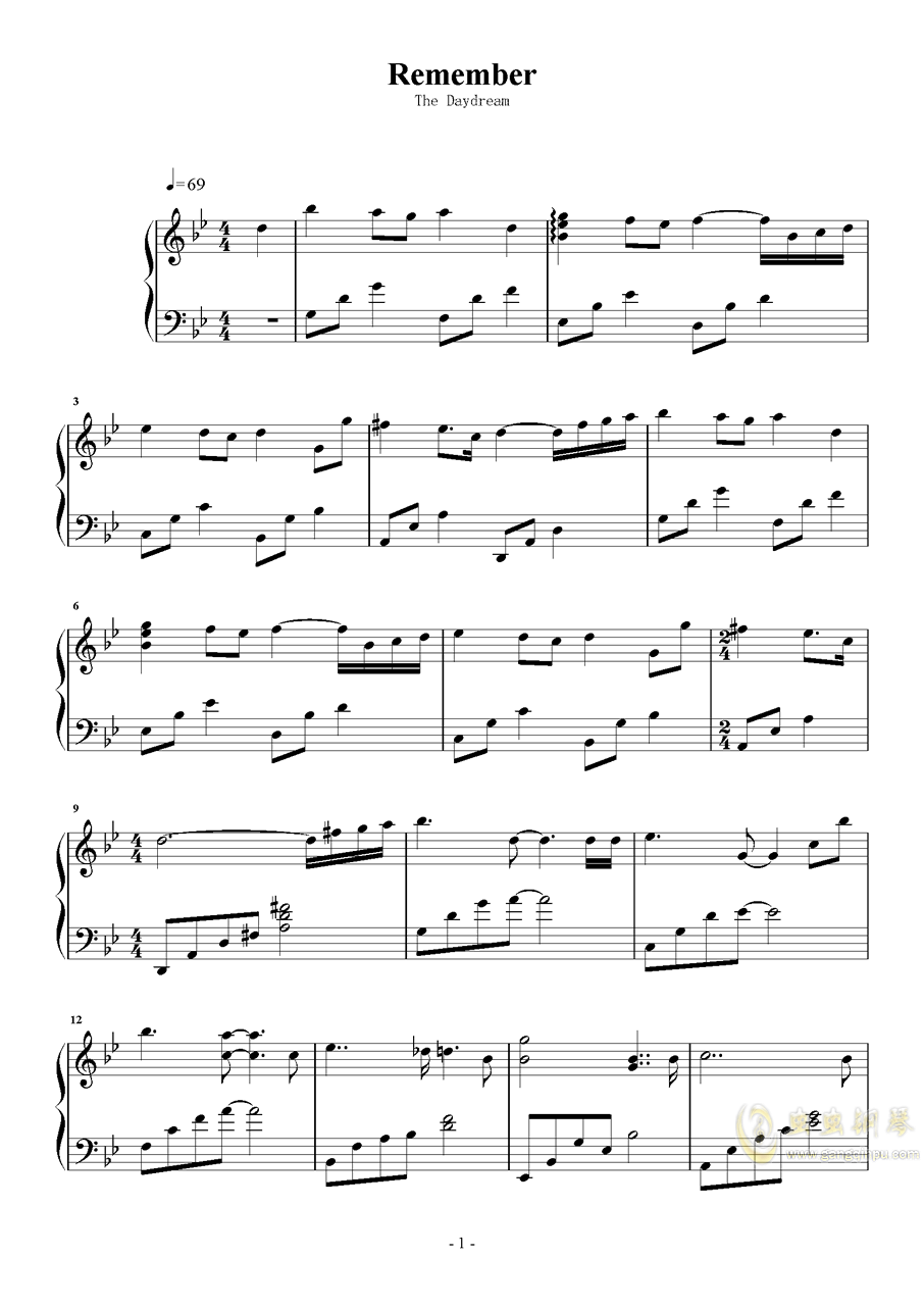 Remember钢琴谱 第1页