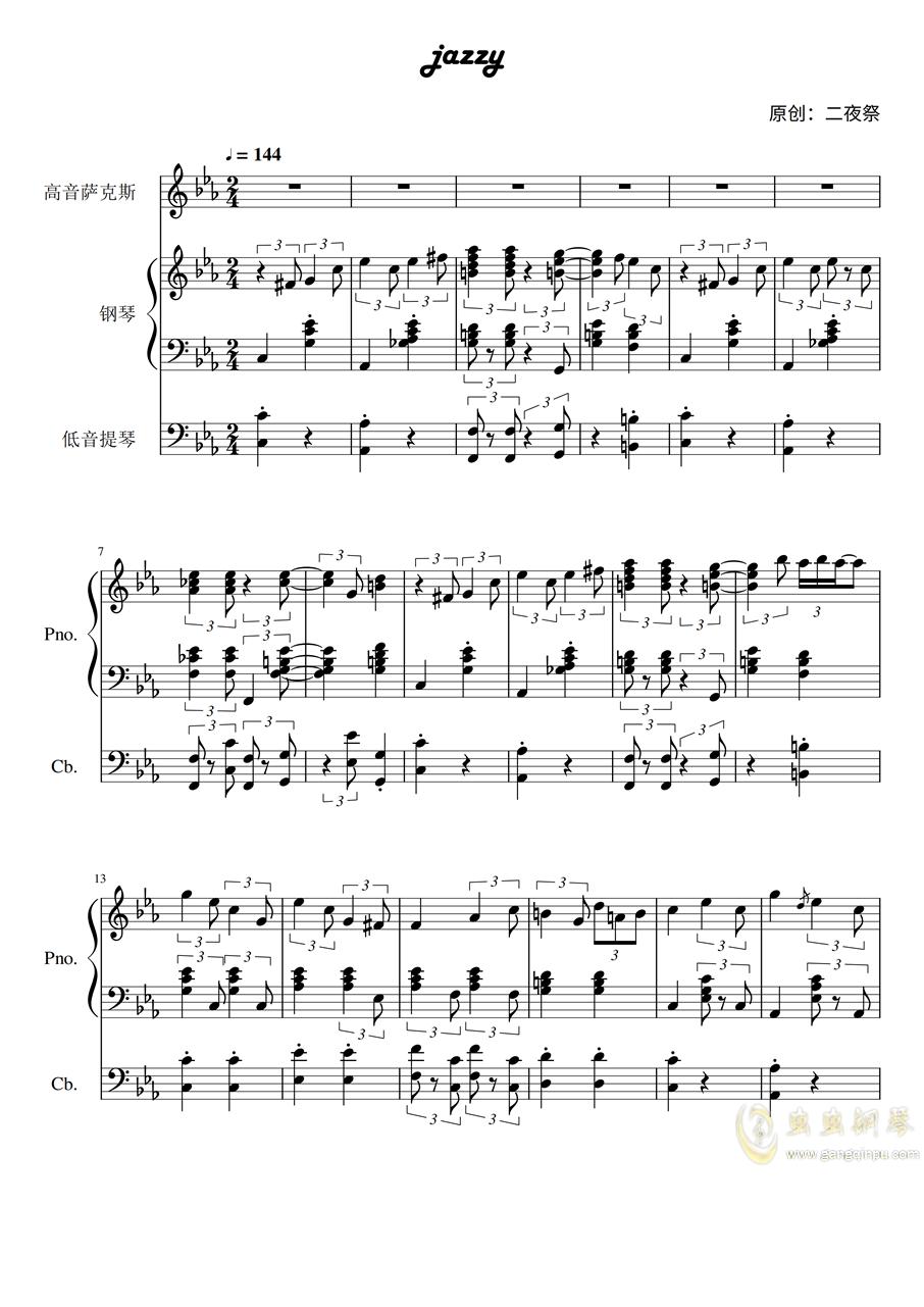 jazzy钢琴谱 第1页