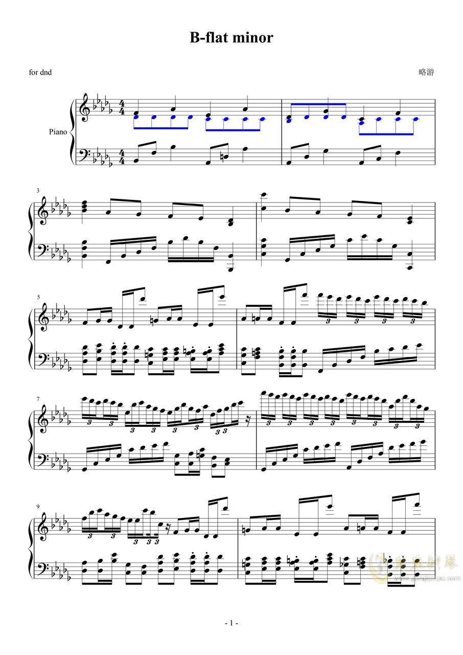 降b小调钢琴谱 第1页