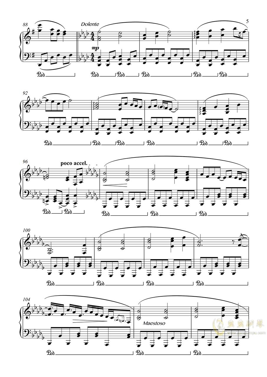 【东方花映冢】【触手猴】彼岸�⒑健�Riverside View 【幻想游戏钢琴谱 第5页