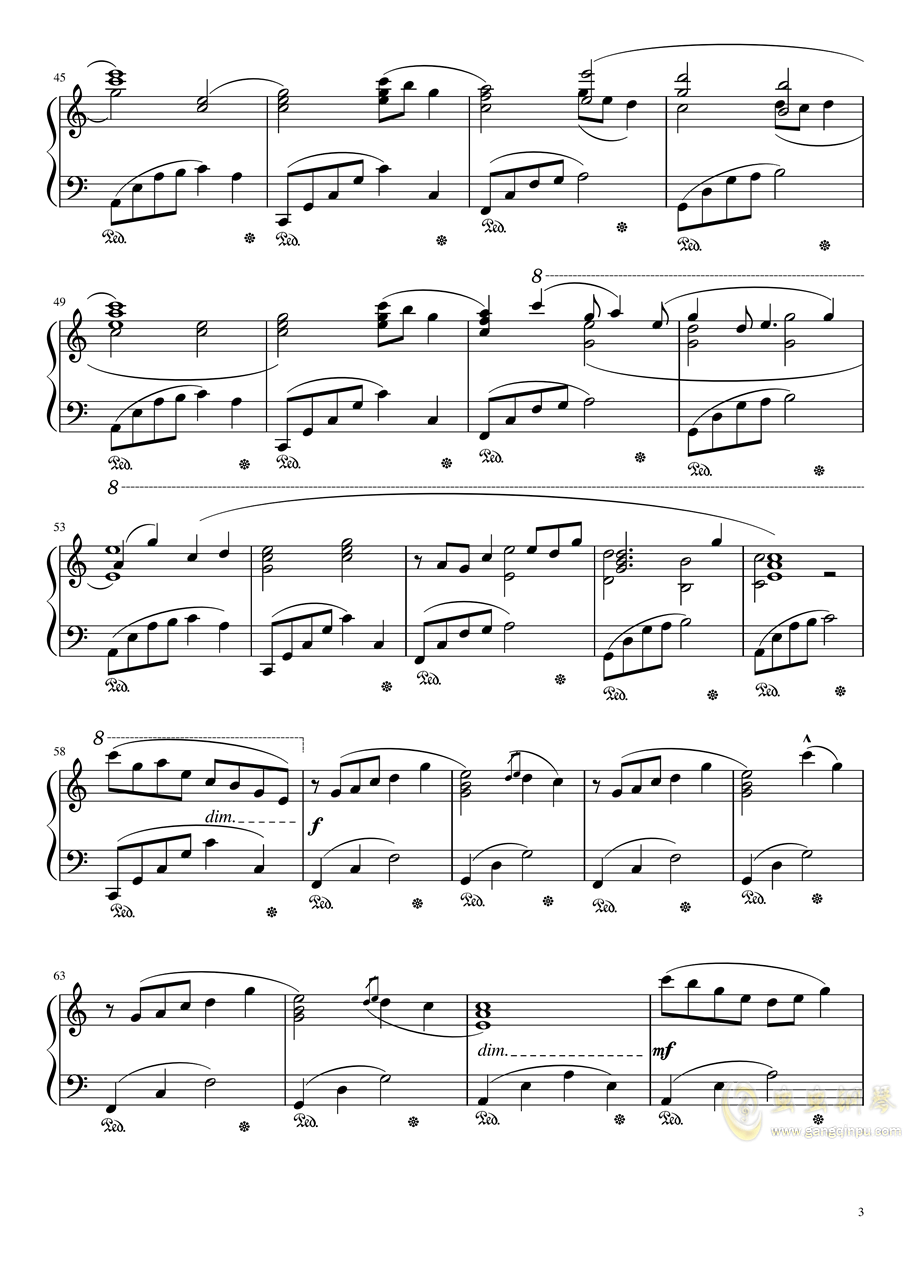 【天气之子OST】花火大会自扒谱 改编版钢琴谱 第3页