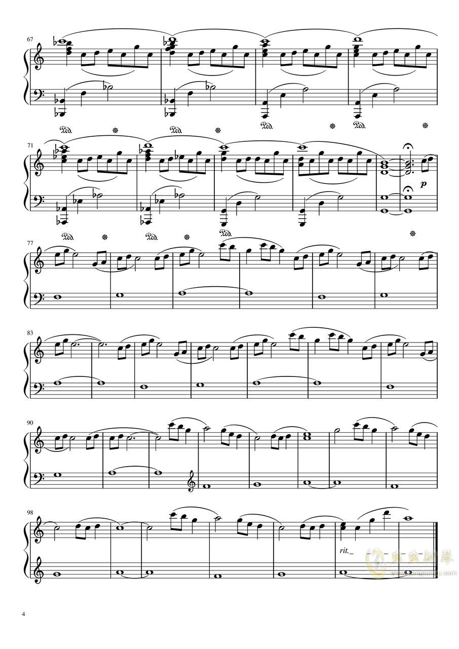 【天气之子OST】花火大会自扒谱 改编版钢琴谱 第4页
