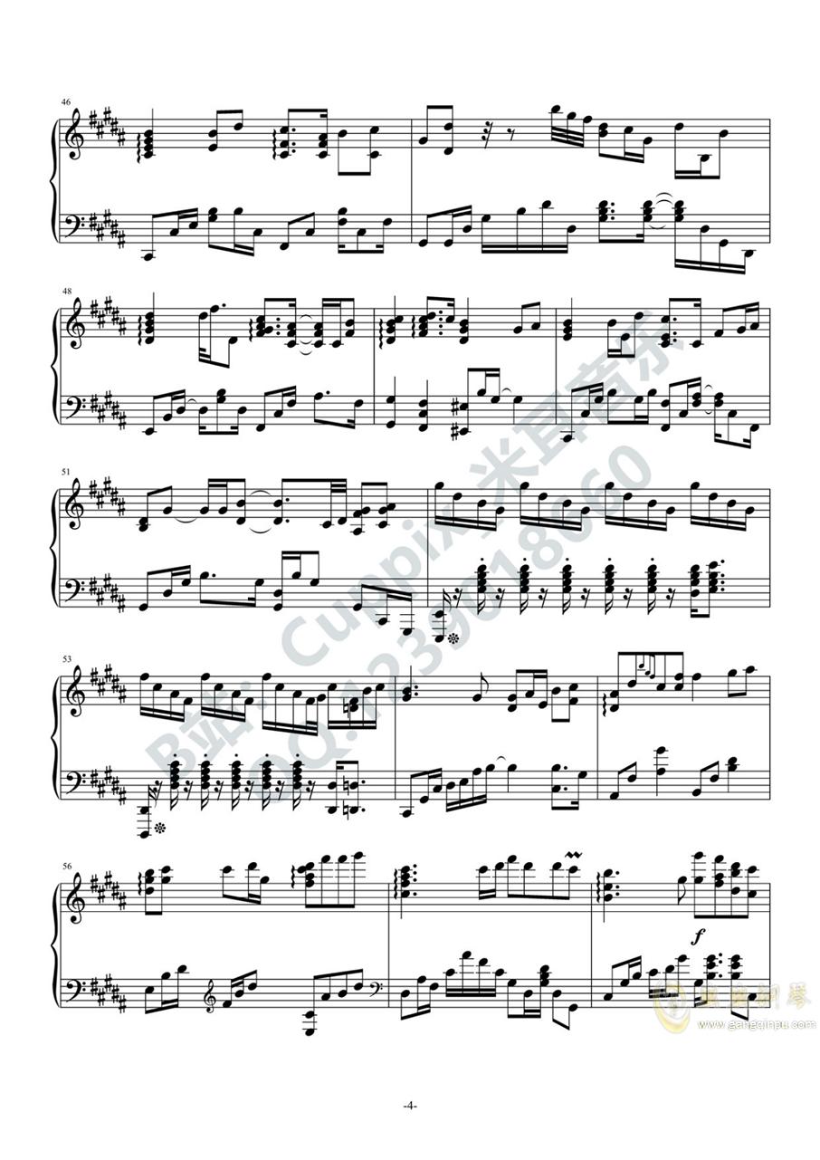 HITA - 赤伶(高度还原)(Cuppix编配)钢琴谱 第4页