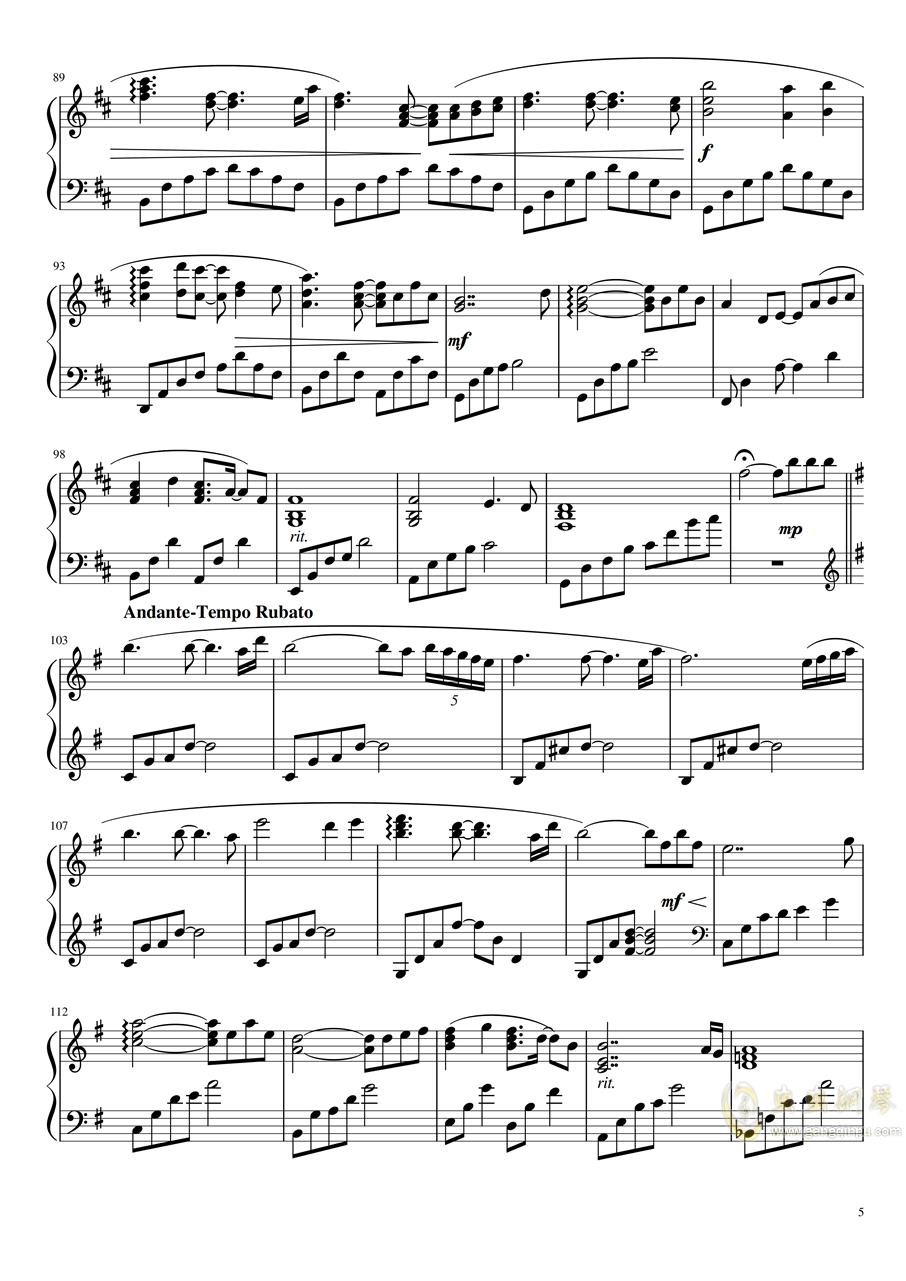 71343钢琴谱 第5页