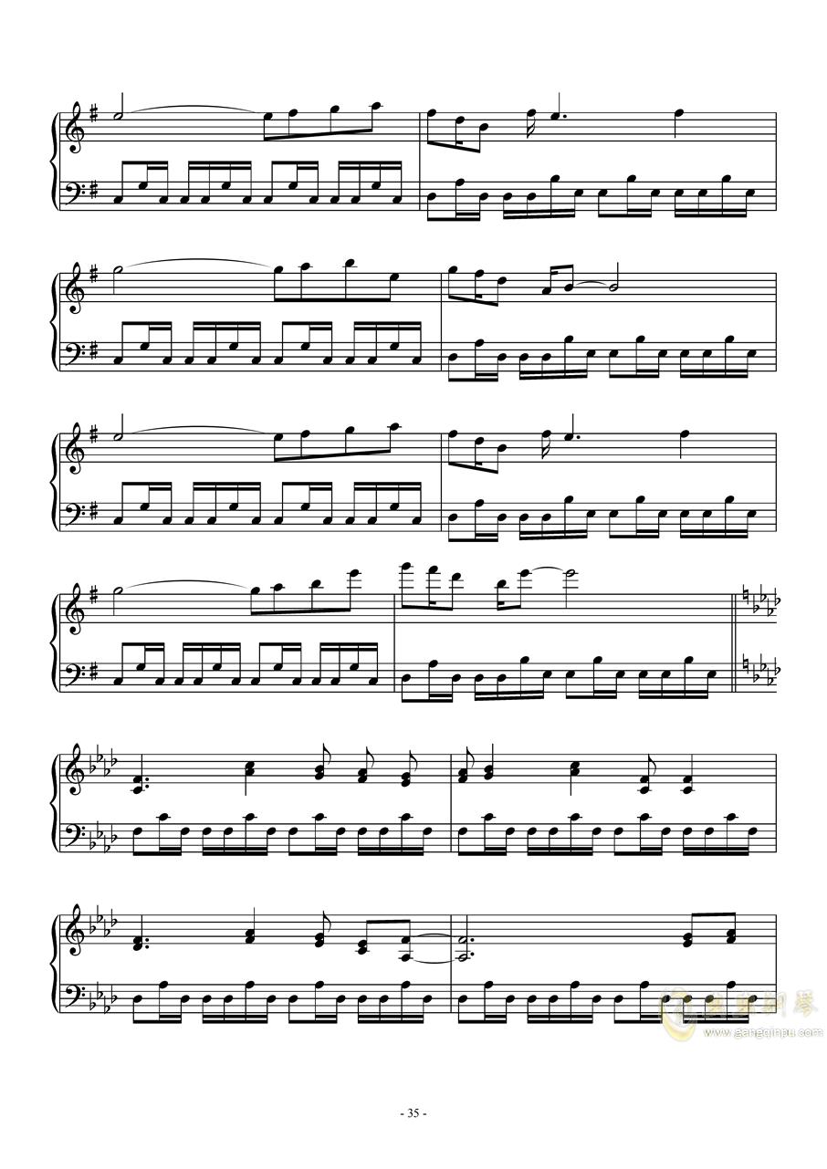 东方怪绮谈连弹钢琴谱 第35页