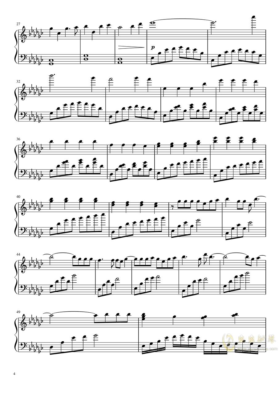 恋与制作人――极暗之时 faded钢琴谱 第4页