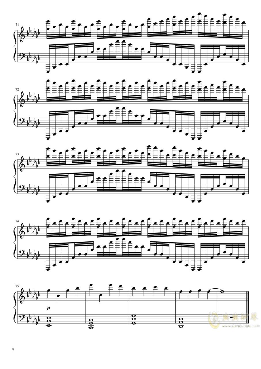 恋与制作人――极暗之时 faded钢琴谱 第8页