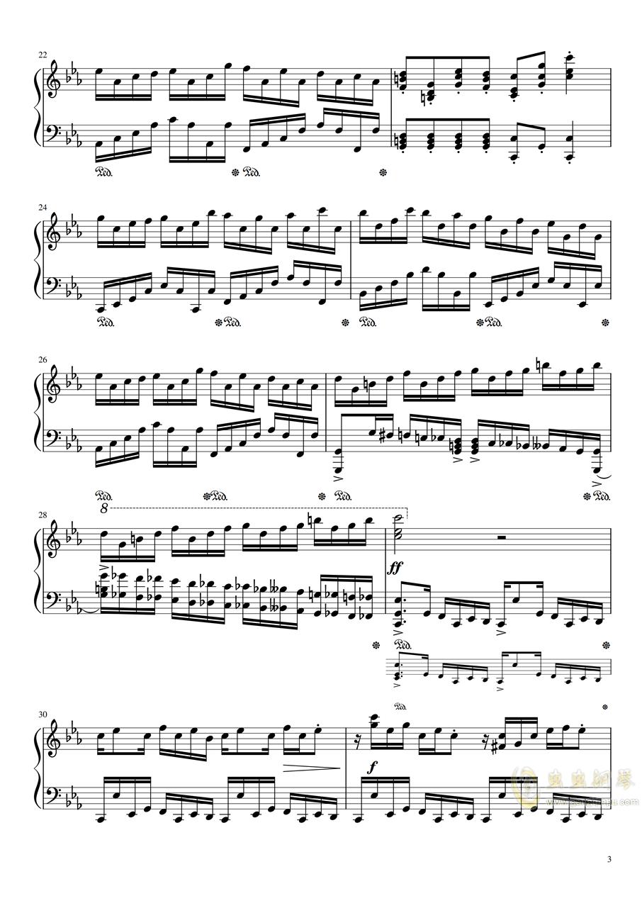 克罗地亚狂想练习曲钢琴谱 第3页