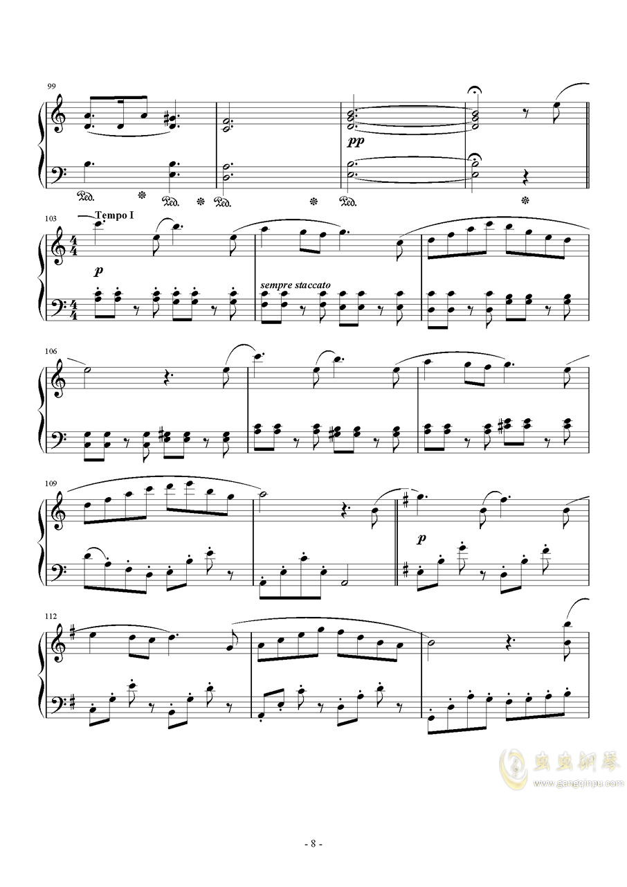 ��蛘婕o子-海の�える街钢琴谱 第8页