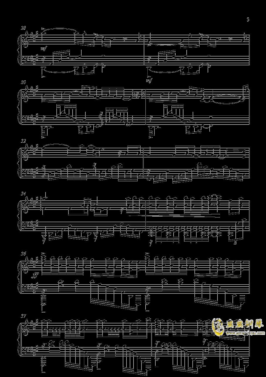 家有女友op カワキヲアメク钢琴谱 第3页