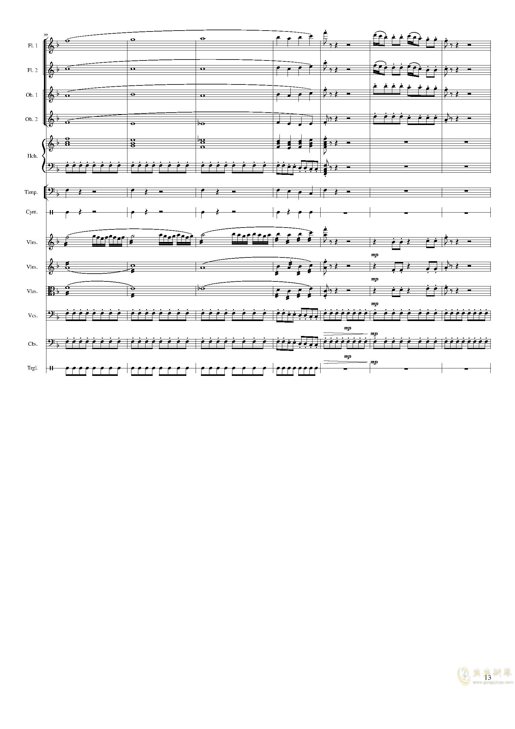 春节序曲,作品121钢琴谱 第13页