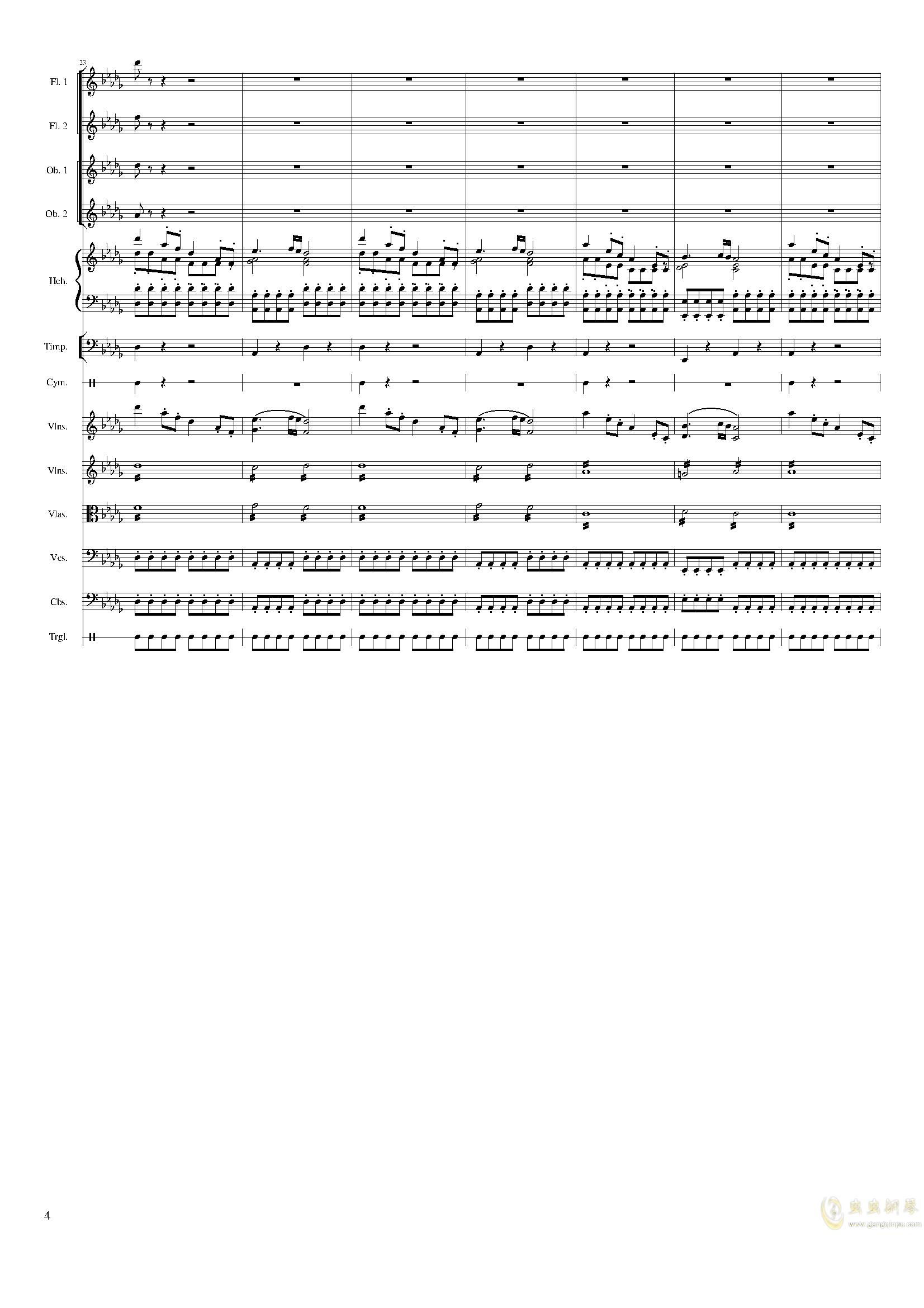 春节序曲,作品121钢琴谱 第4页