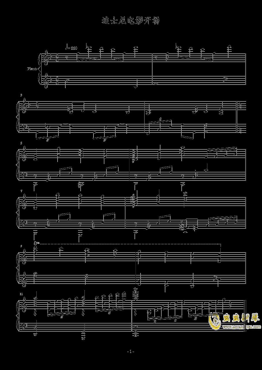 迪士尼电影开场钢琴谱 第1页