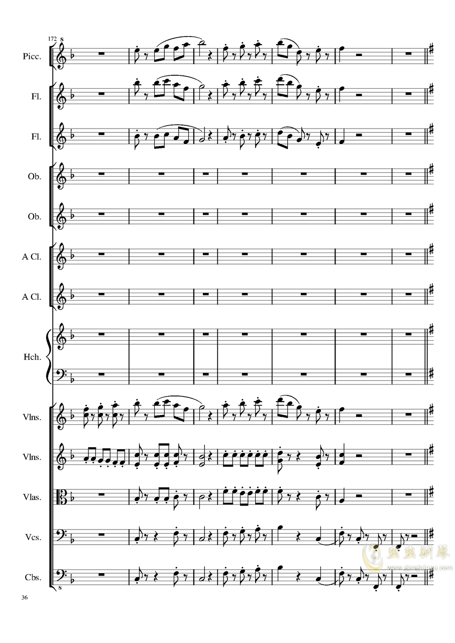 7 Contredanses No.1-7, Op.124 (7首乡村舞曲,第一至第七,作品124)钢琴谱 第36页