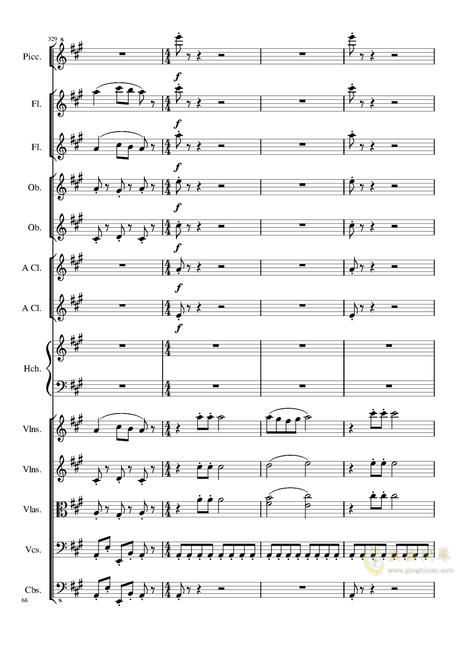 7 Contredanses No.1-7, Op.124 (7首乡村舞曲,第一至第七,作品124)钢琴谱 第68页