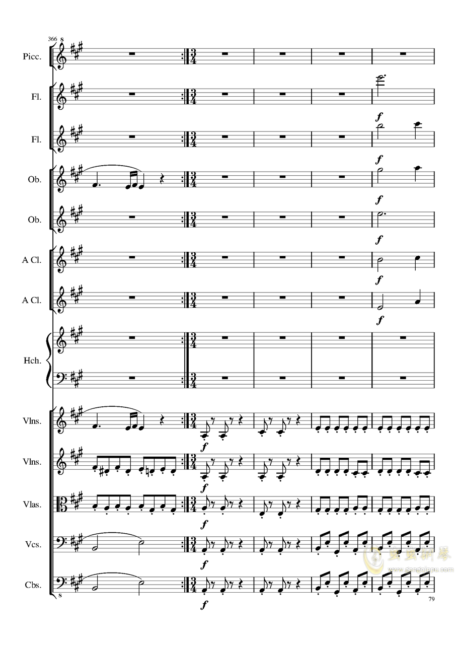 7 Contredanses No.1-7, Op.124 (7首乡村舞曲,第一至第七,作品124)钢琴谱 第79页
