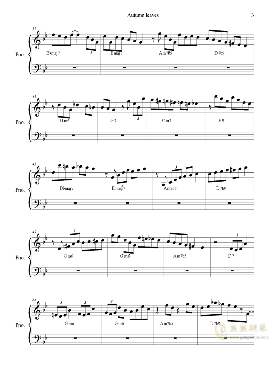 autumn  leaves钢琴谱 第3页