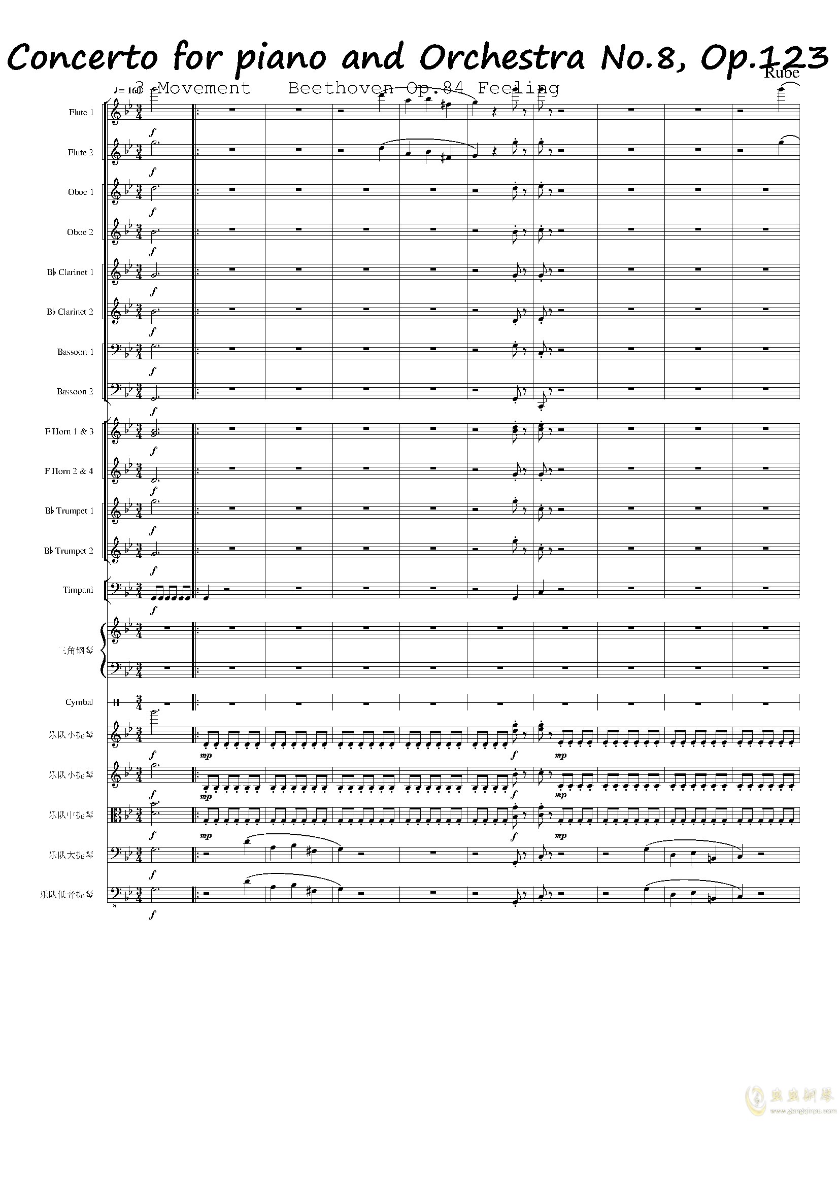 Piano Concerto No.8, Op.123 III.钢琴谱 第1页