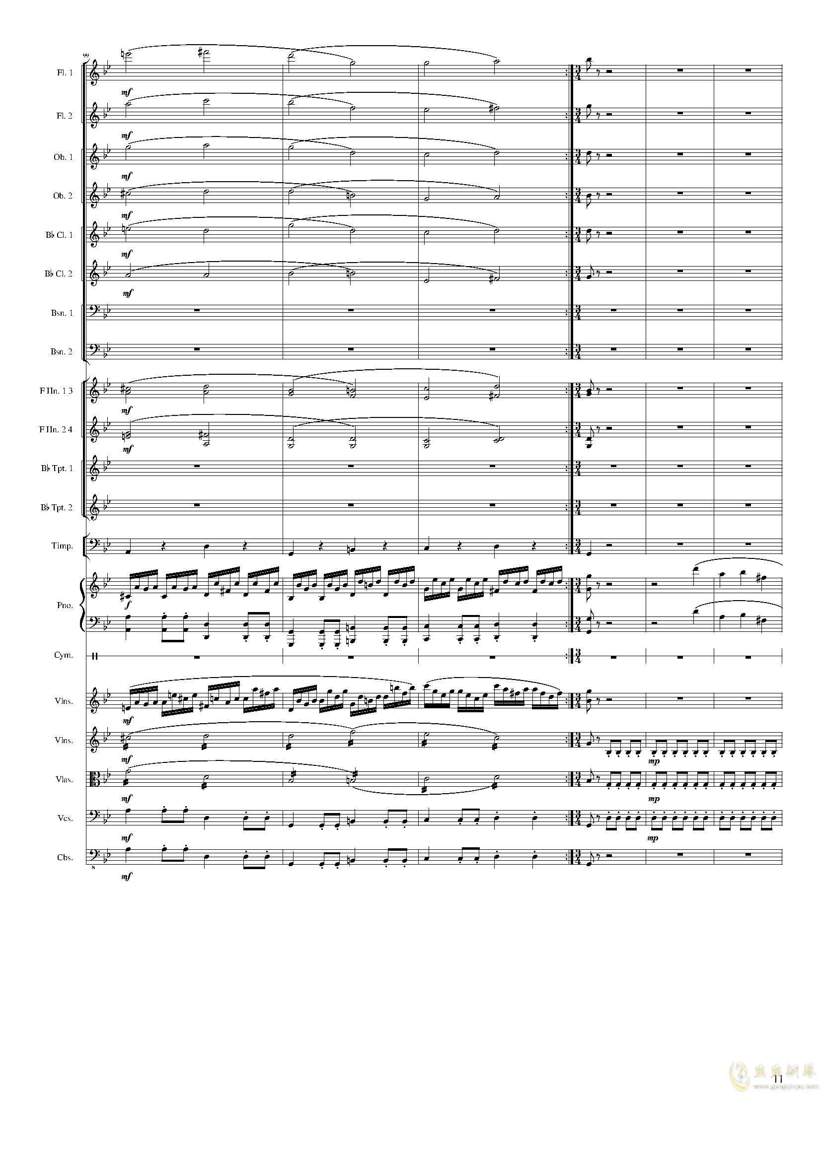 Piano Concerto No.8, Op.123 III.钢琴谱 第11页