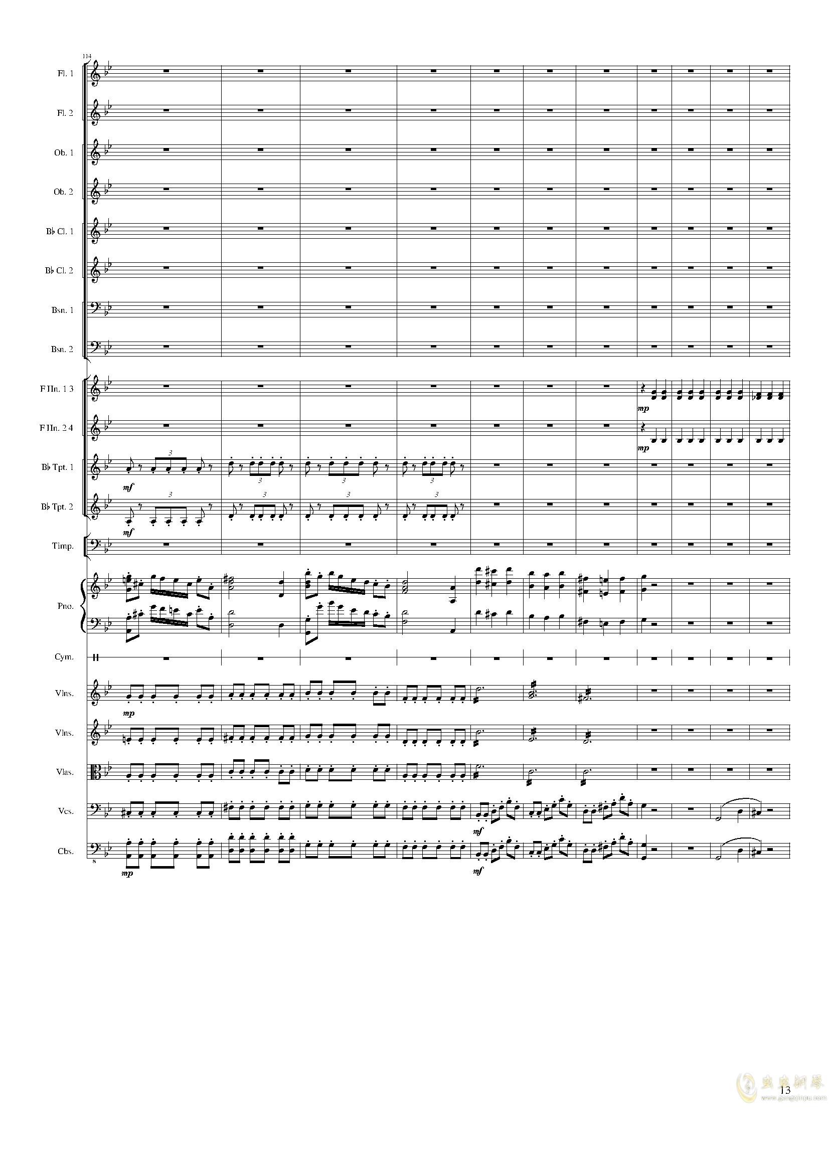 Piano Concerto No.8, Op.123 III.钢琴谱 第13页