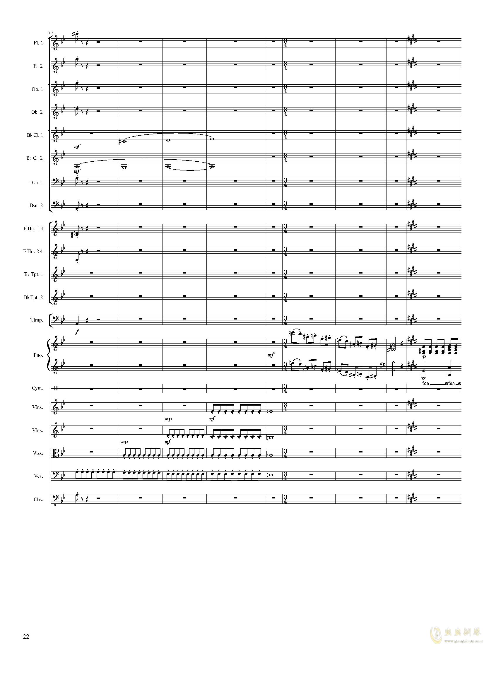 Piano Concerto No.8, Op.123 III.钢琴谱 第22页