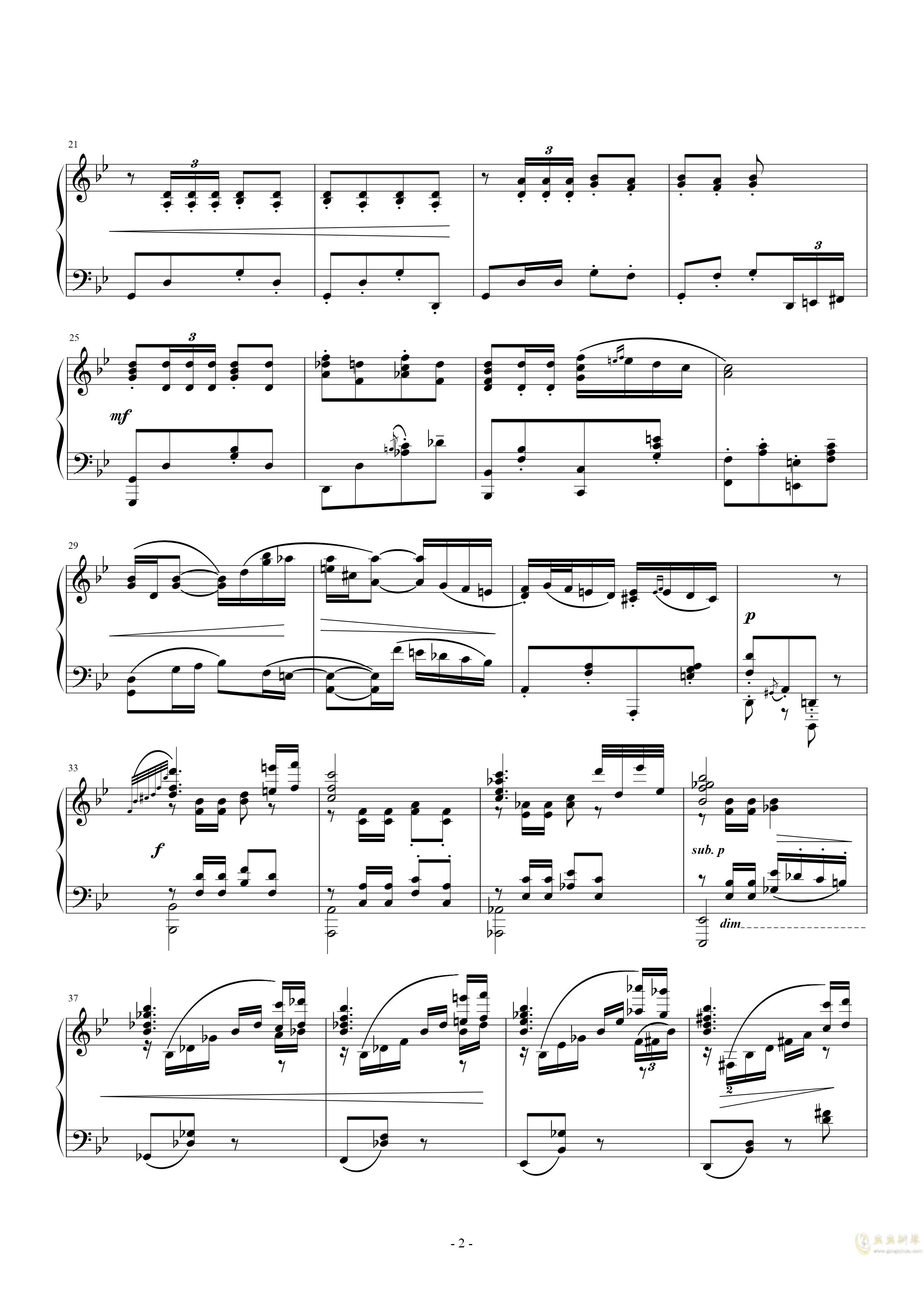 g小调钢琴舞曲, Op.12, No.5钢琴谱 第2页