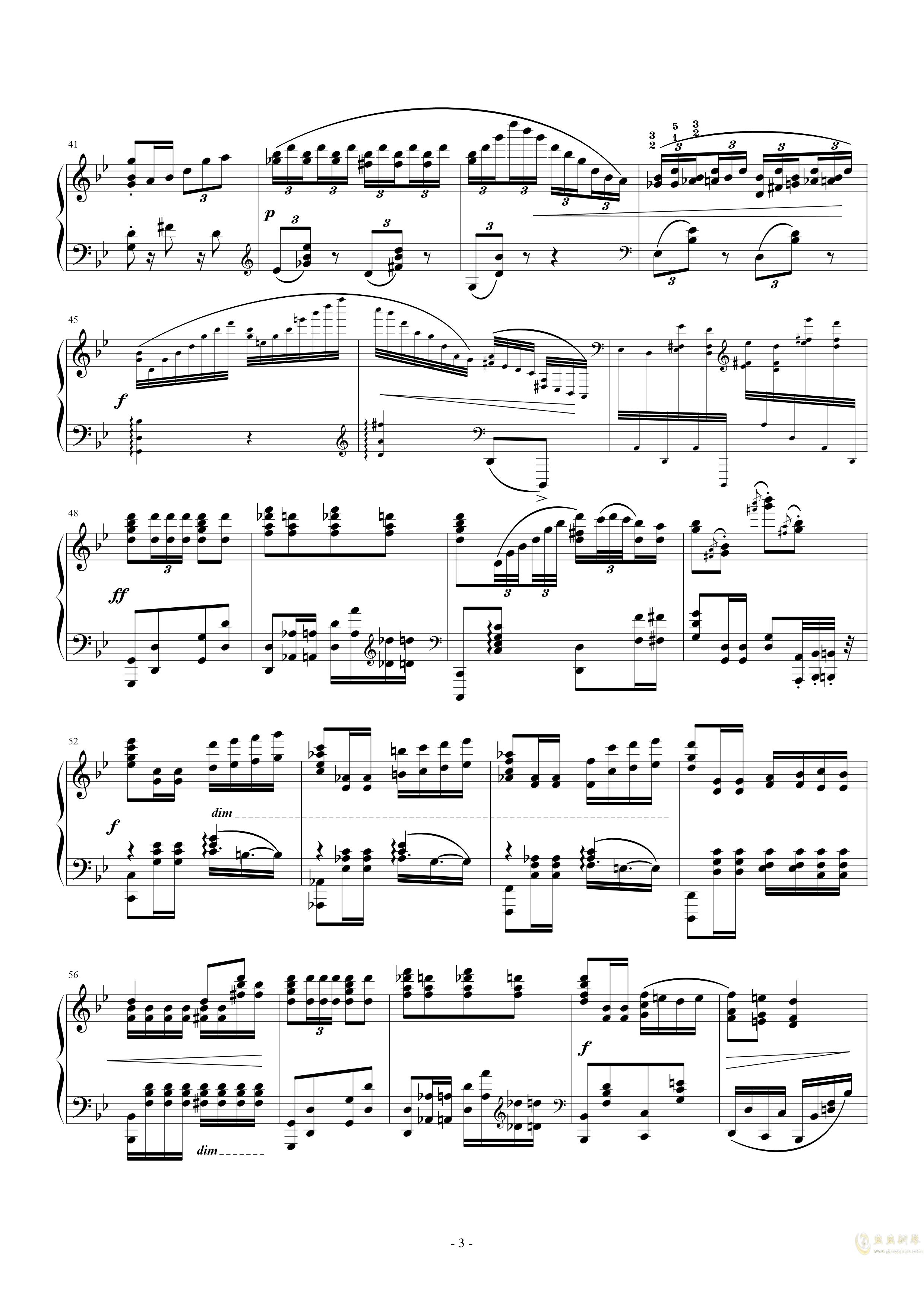 g小调钢琴舞曲, Op.12, No.5钢琴谱 第3页