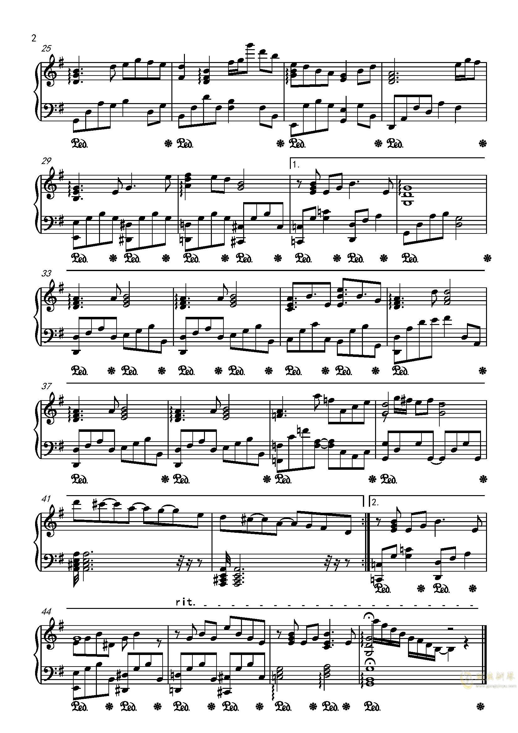 千秋悬日月钢琴谱 第2页