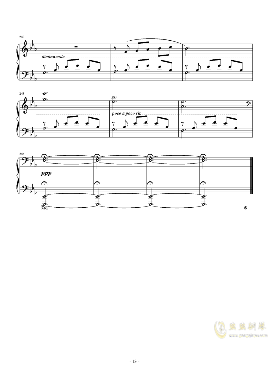 広橋真紀子-風の谷のナウシカ(李小熊改编)钢琴谱 第13页