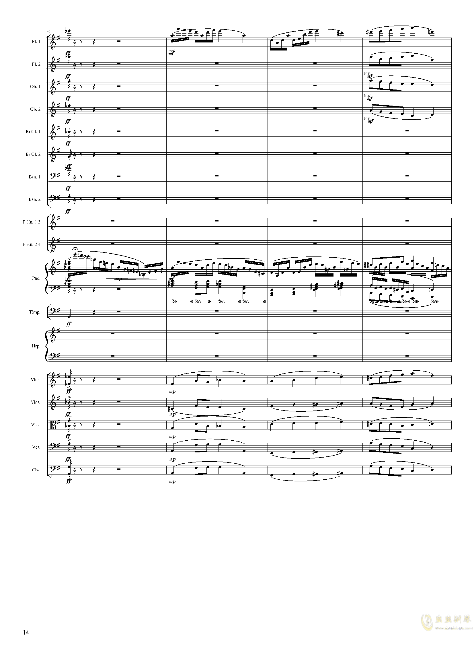Lyric Overture for piano and orchestra, Op.115(未完成)澳门星际官网 第14页