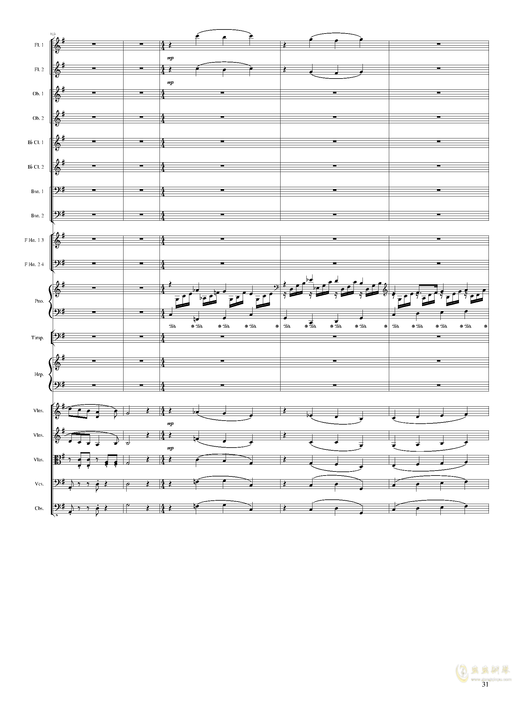 Lyric Overture for piano and orchestra, Op.115(未完成)澳门星际官网 第31页