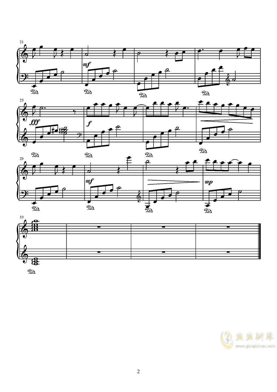 知否知否简易C调钢琴谱 第2页