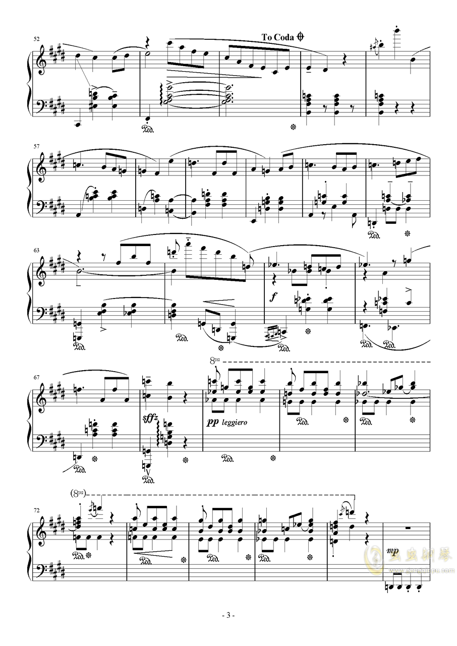 E大调即兴圆舞曲钢琴谱 第3页