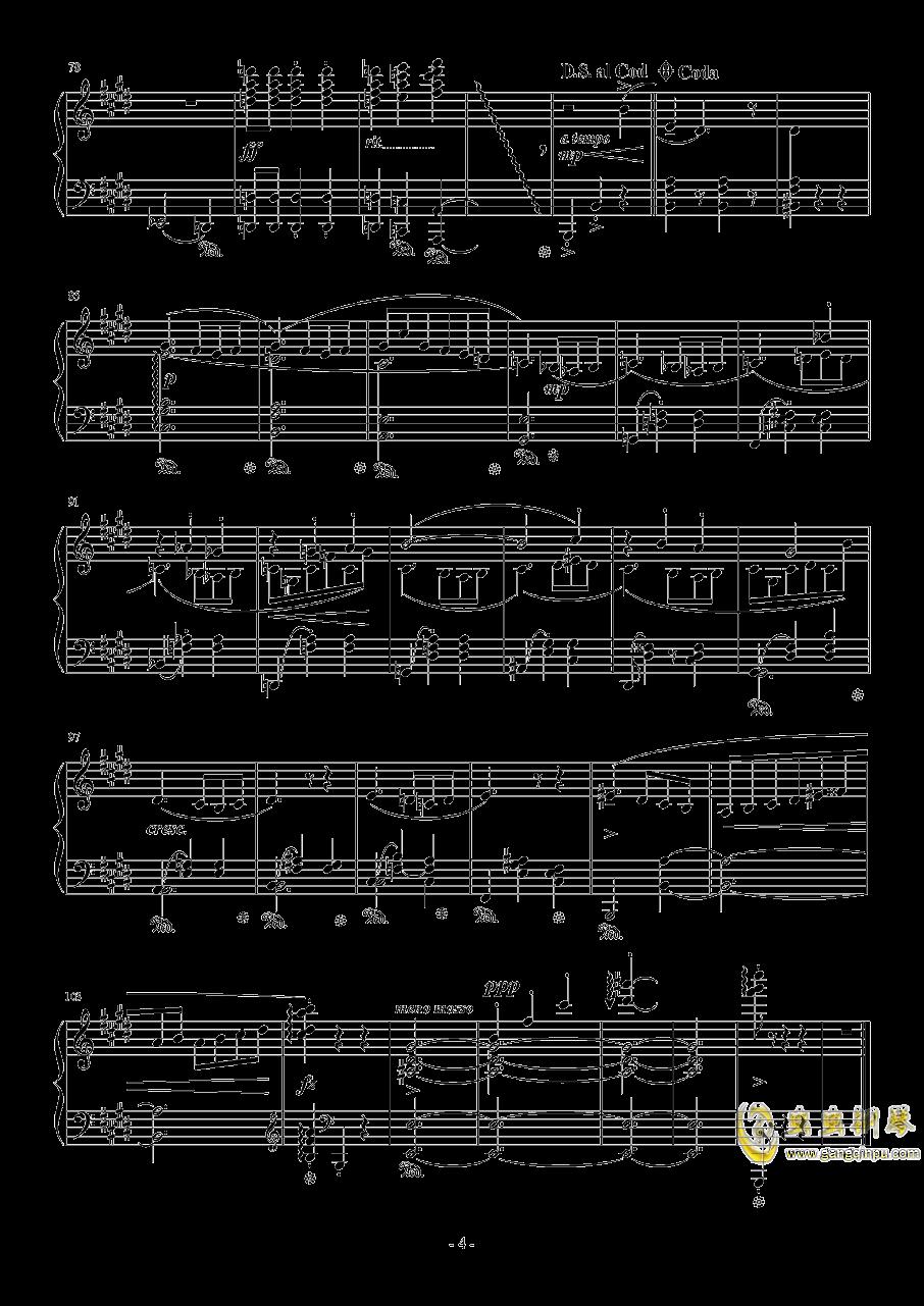 E大调即兴圆舞曲钢琴谱 第4页