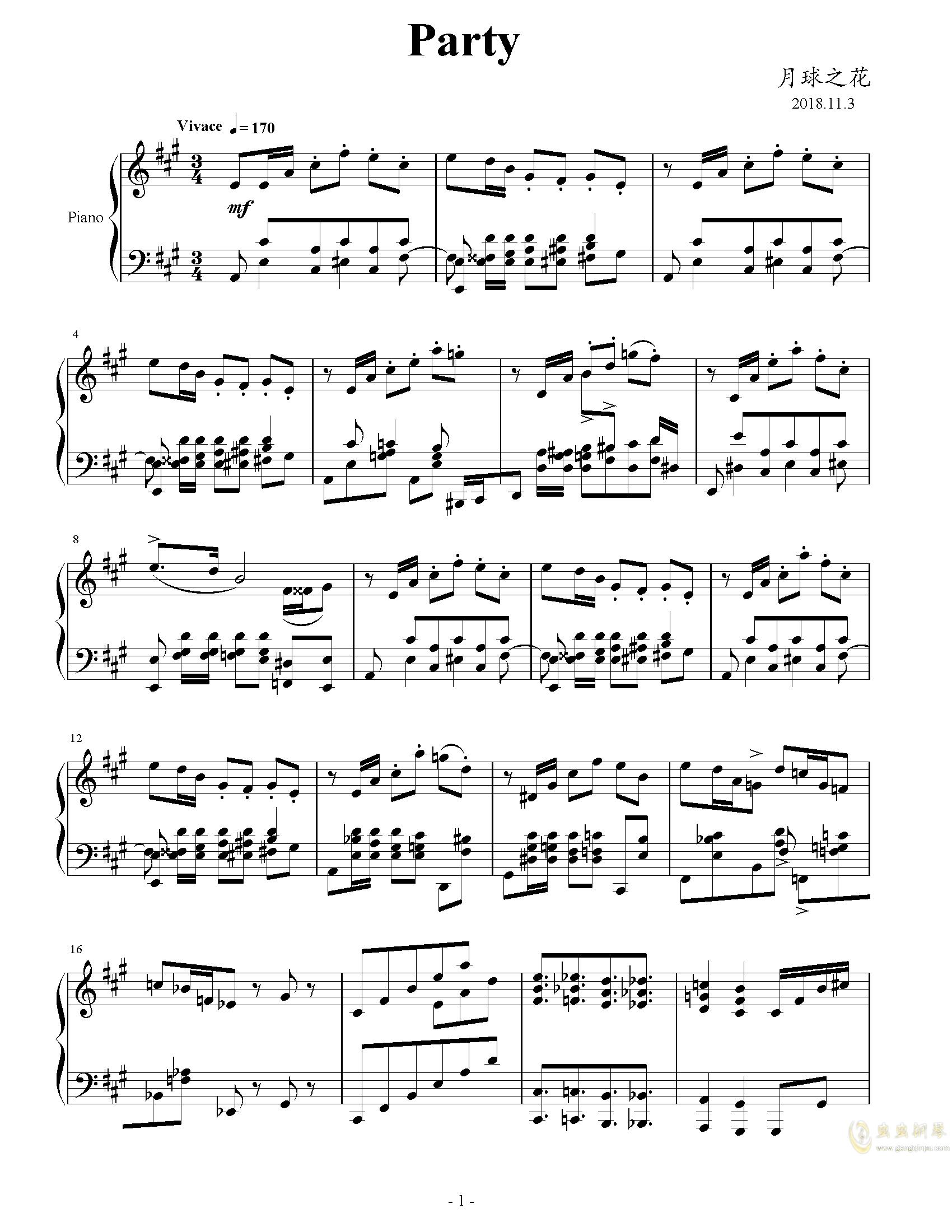 Party钢琴谱 第1页