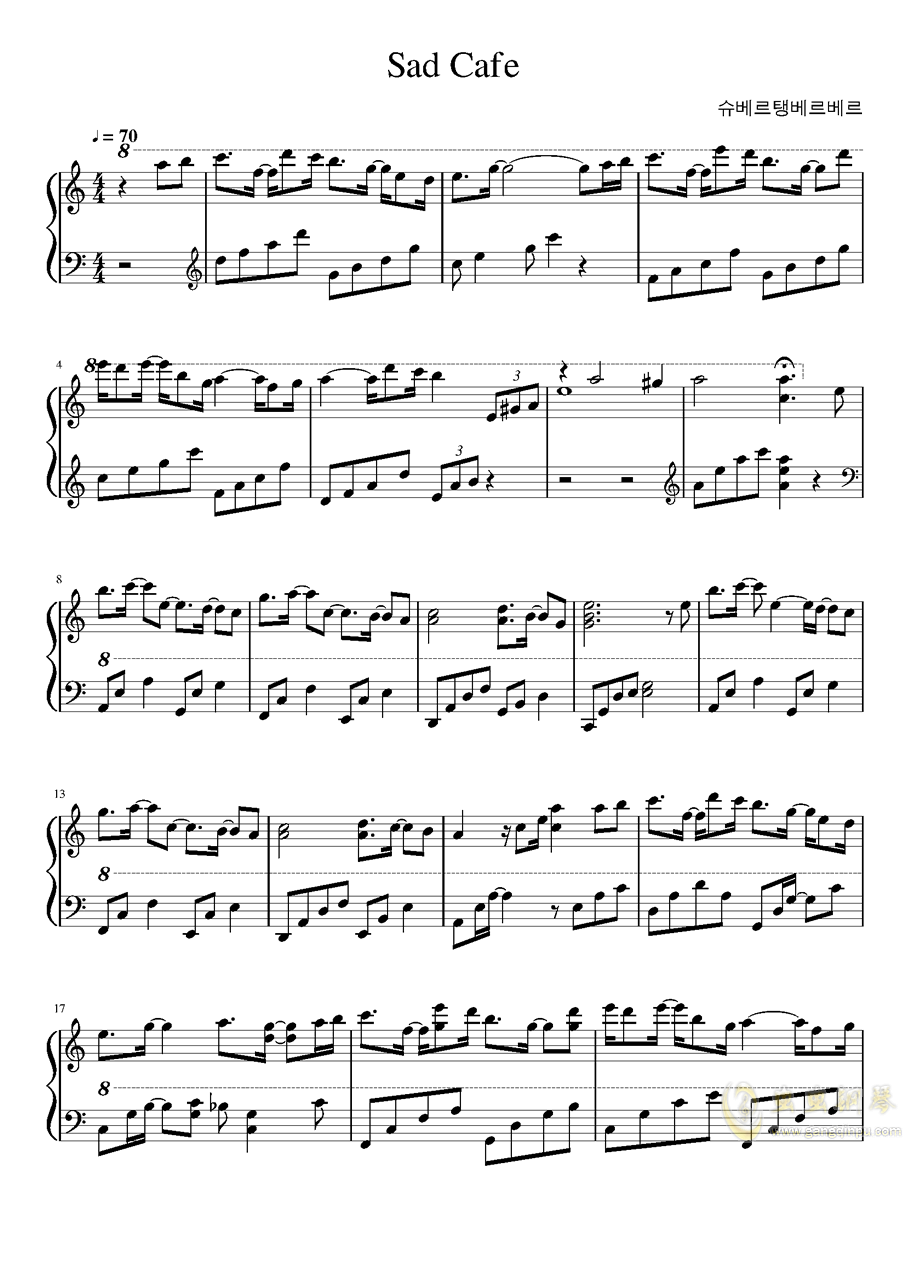 Sad Cafe钢琴谱 第1页