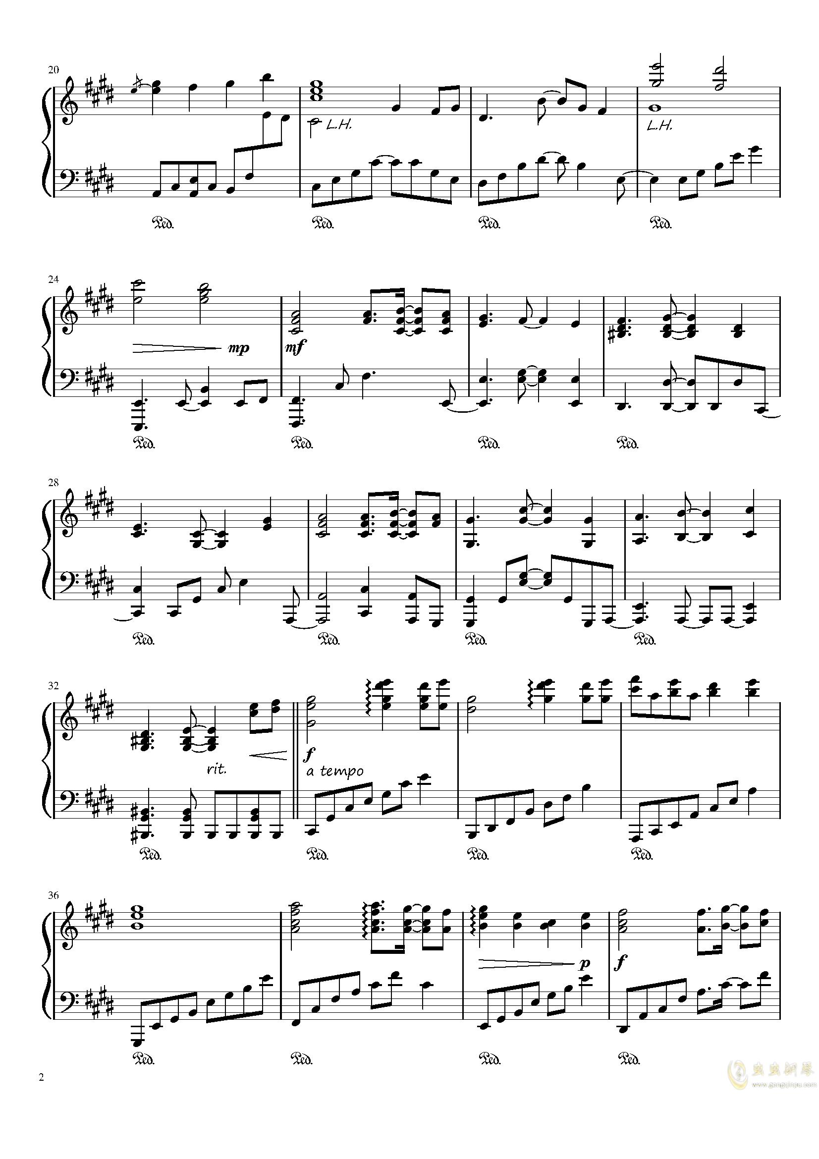 懐かしき東方の钢琴谱 第2页