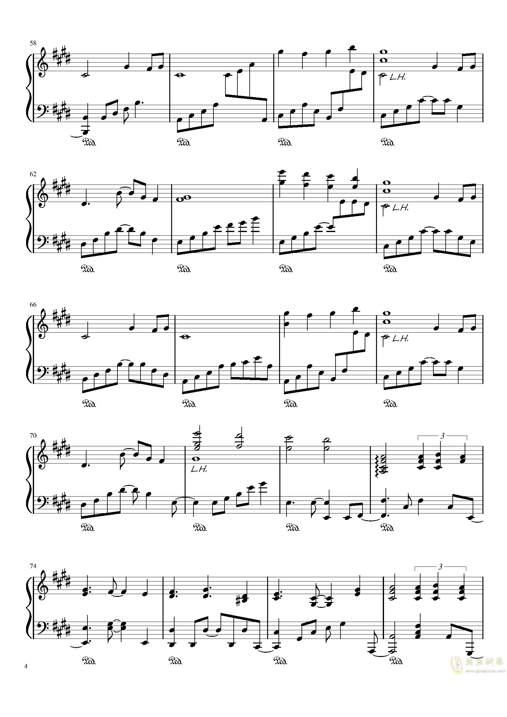 懐かしき東方の钢琴谱 第4页