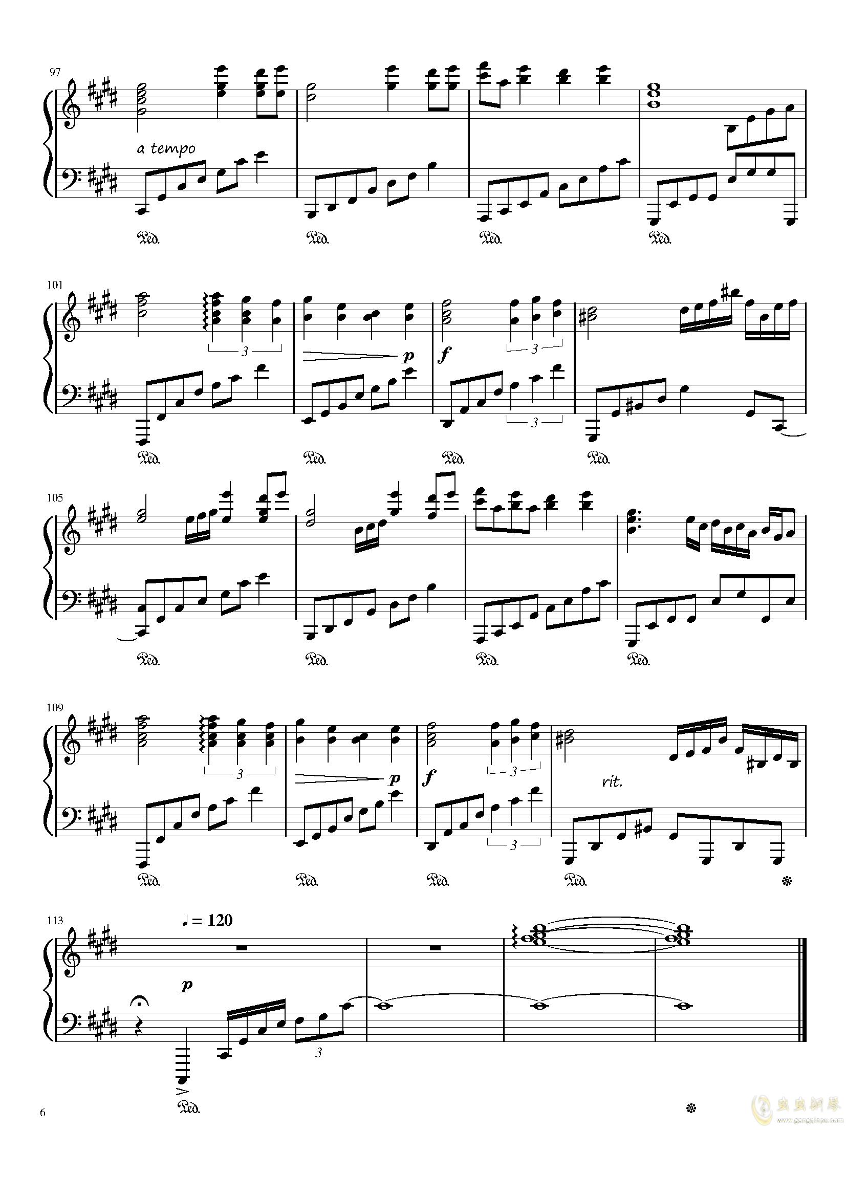 懐かしき東方の钢琴谱 第6页