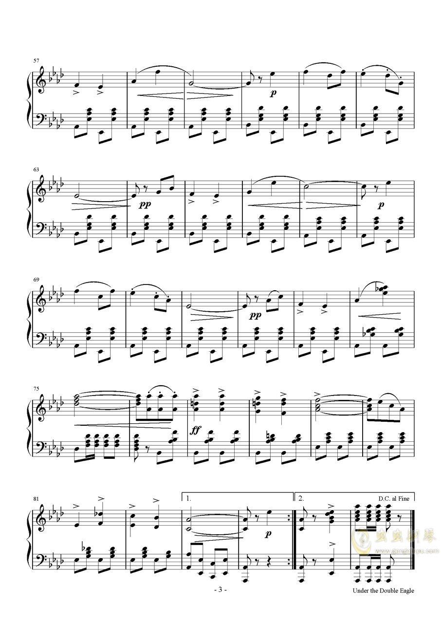 双头鹰进行曲钢琴谱 第3页